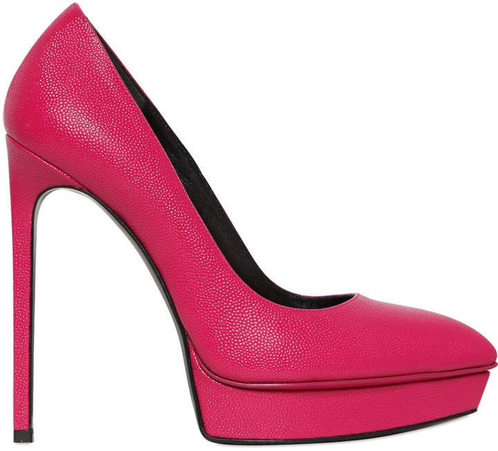 Saint Laurent 130mm Janis Tumbled Leather Pumps