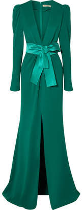 Sicily Silvia Tcherassi Gathered Crepe Gown - Emerald