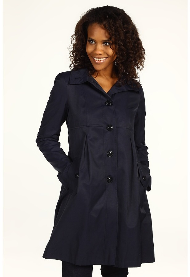 DKNY - Hooded Babydoll Coat (Midnight) - Apparel