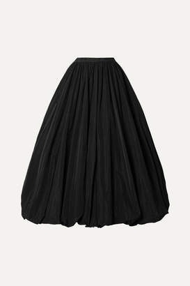Co Gathered Taffeta Midi Skirt - Black