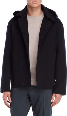 Jil Sander Dark Blue Removable Hood Coat