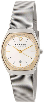 Skagen Women's Asta Crystal Top Ring Two-Tone Watch $145 thestylecure.com