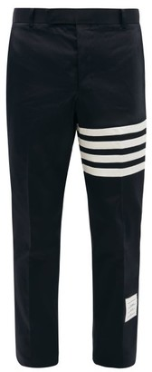 Thom Browne Striped Straight Leg Cotton Chino Trousers - Mens - Navy