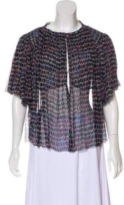 Isabel Marant Silk Abstract Print Ruched Blouse