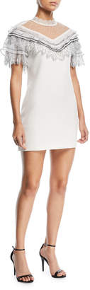 Self-Portrait Self Portrait Pleated Trim A-Line Mini Crepe Cocktail Dress