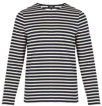 A.P.C. Matt Striped Cotton T Shirt - Mens - Navy Multi