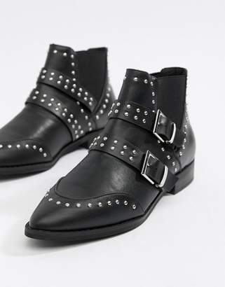 Asos DESIGN Alas pointed studded buckle ankle boots