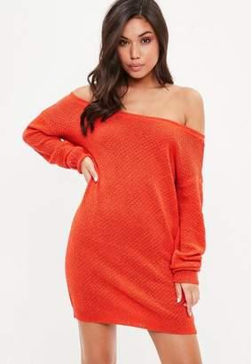 Missguided Orange Off Shoulder Sweater Dress