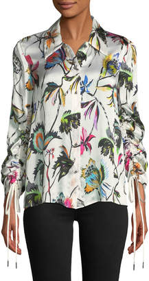 Jason Wu Floral-Print Button-Down Drawstring-Sleeve Silk Blouse