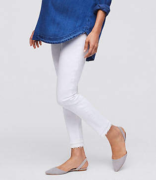 LOFT Maternity Frayed Skinny Ankle Jeans in White