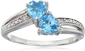 Sterling Silver Diamond Accent and Topaz Two Heart Ring