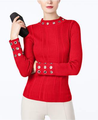 INC International Concepts I.n.c. Ribbed-Knit Mock-Neck Grommet Sweater