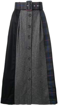 Isa Arfen belted patchwork skirt