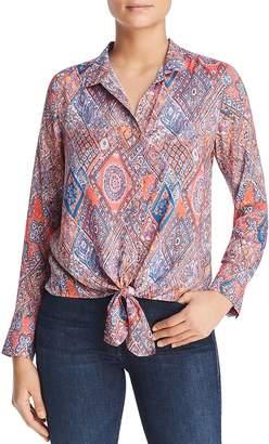 Tolani Tile-Print Tie-Front Blouse