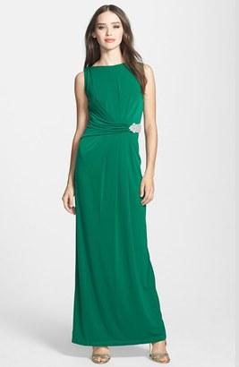 Women's Ellen Tracy Embellished Waist Drape Back Jersey Gown $168 thestylecure.com