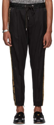 Dolce & Gabbana Black and Gold Embroidered Drawstring Trousers