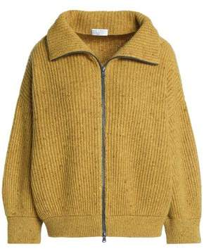 Brunello Cucinelli Marled Ribbed Wool-Blend Cardigan