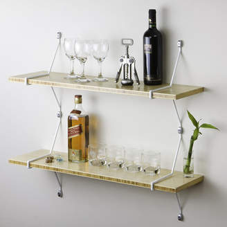 Aderet Double Bamboo Shelves with Diagonal Brackets