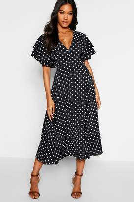 boohoo Polka Dot Ruffle Angel Sleeve Midi Dress
