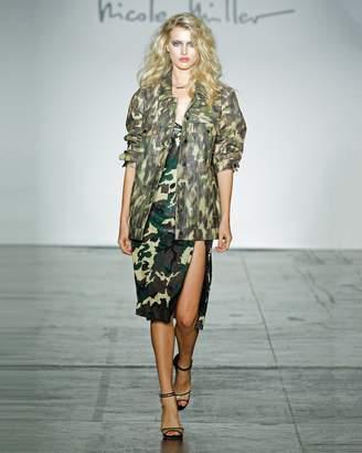 Nicole Miller Camouflage Oversized Leather Jacket