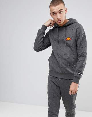 Ellesse Hoodie With All Over Embossed Logo In Gray