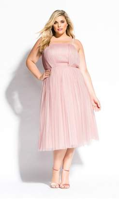 City Chic Citychic Midi Tulle Dress - pink