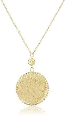 14k Gold Hammered Circle Necklace