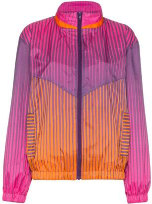 House of Holland stripe-print stand-collar track jacket