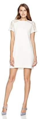 Savoir Faire Dresses Women's Lace-Panel Short-Sleeve Dress