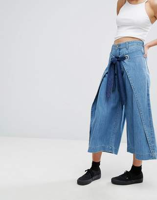 House of Holland X Lee Wide Leg Jean with Wrap Front