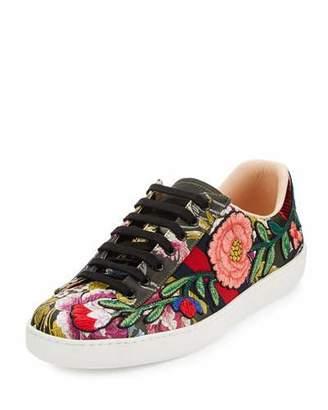 Gucci New Ace Men's Floral Leather Low-Top Sneaker, Black $790 thestylecure.com