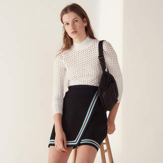 Sandro Wraparound-style knit skirt