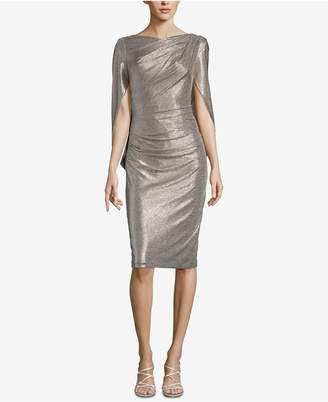 Betsy & Adam Metallic Capelet Sheath Dress