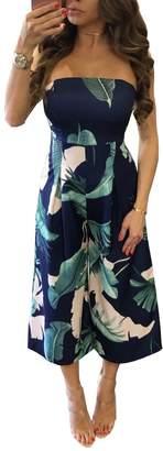 Aecibzo Women's Strapless Floral Print Blouson Wide Leg Cropped Jumpsuit Romper (XL, )