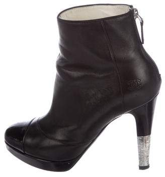 Chanel Leather Cap-Toe Boots