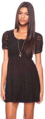 Forever 21 Ruched Sleeve Lace Dress