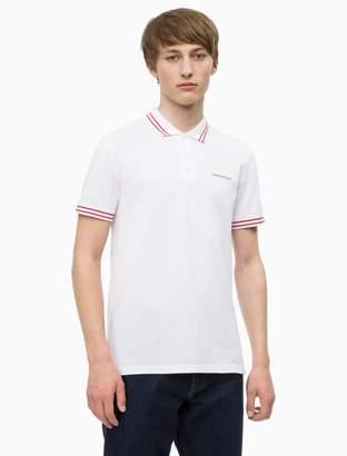 Calvin Klein slim fit striped logo polo shirt
