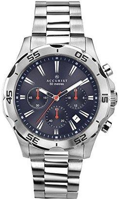 Accurist メンズ用ブルーダイヤルアナログクロノグラフ腕時計シルバーステンレススチールブレスレット7024