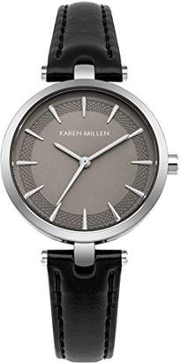 Karen Millen Women's Quartz Silver-Tone and Leather Casual Watch
