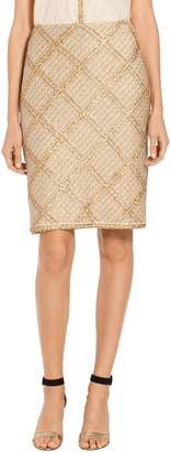 St. John Goldenflag Plaid Knit Skirt