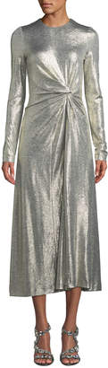 Galvan Jewel-Neck Long-Sleeve Gathered-Waist Textured Metallic Jersey Cocktail Dress