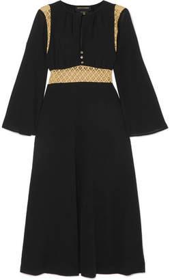 Vanessa Seward Forever Crochet-paneled Cotton-voile Midi Dress - Black