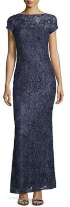 Laundry By Shelli Segal Cap-Sleeve Bateau-Neck Lace Gown, Midnight $745 thestylecure.com