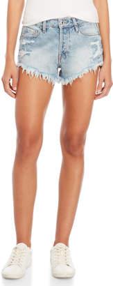 Vervet High-Waisted Destructed Denim Shorts