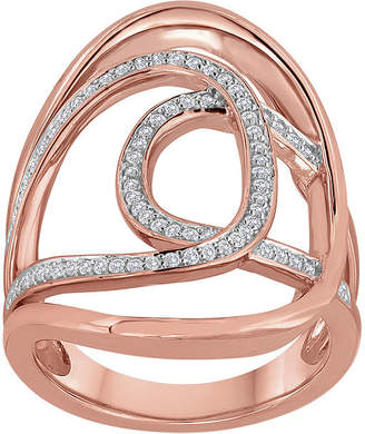 FINE JEWELRY 1/3 CT. T.W. Diamond 14K Rose Gold Over Sterling Silver Open Oval Knuckle Ring