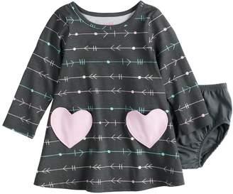 Osh Kosh Baby Girl Jumping Beans Printed Front Pocket Swing Dress