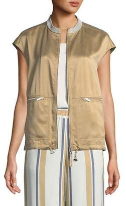 Lafayette 148 New York Tonya Artistry Silk Vest with Chain Detail