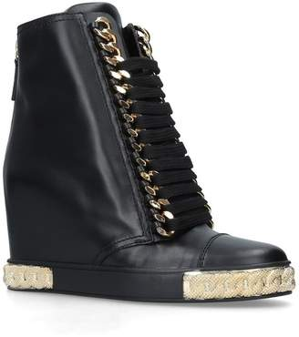 Casadei Leather Chain Platform Boots 80