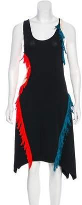 Cédric Charlier Fringe-Trimmed Asymmetrical Dress