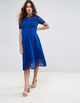 Asos Premium Lace Insert Midi Dress